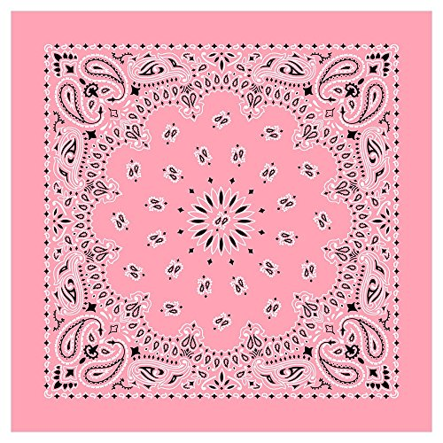 American Made Light Pink Western Paisley Bandana - Single Piece 22x22