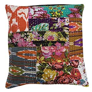 Ethnic Cushion Cover 40cm Home Decor Kantha Patchwork Art Pillow Case Indian Gift 16 Inches