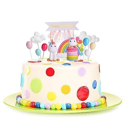 Kateluo Licorne Cupcake Toppers Happy Birthday Arc En Gateau Decoration De Gateau D Anniversaire Mariage Baby Shower Parti Decor Pack 11 Pieces