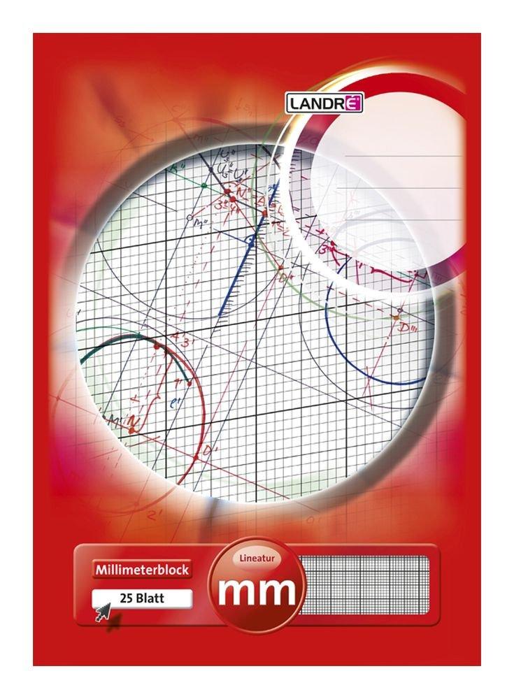 LANDRÉ, blocco di carta millimetrata, in formato A3, 80 g/m², 20 fogli incollati sulla sommità A4 1 pezzo Hamelin 100050441