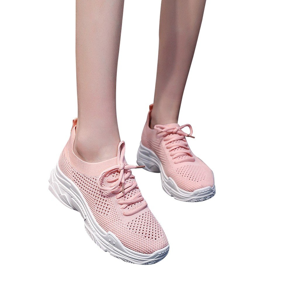 Fashion Women Girls Casual Outdoor Walking Mesh Student Sports Breathable Shoes (Pink, 35)