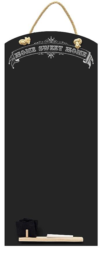 Chalkboards UK Sweet Home de Altura Delgada Pizarra/Memo Junta de Cocina con Cuerda, diseño de cabinas de Bandeja y Tiza, Madera, Negro, 60 x 26.5 x 1 ...