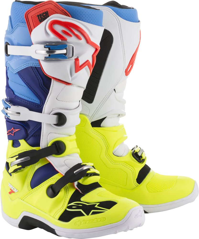 Alpinestars Tech 7 Men's Off-Road Motorcycle Boots - Yellow/White/Blue / 5