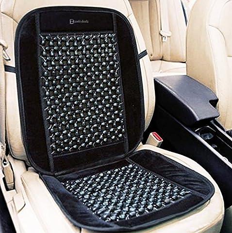 Zento Deals Black Wooden Beaded Plush Velvet Seat Cover Premium Quality Ultra Comfort Massage Cool Car Seat Cushion 35