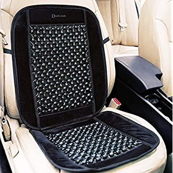 Zento Deals Black Wooden Beaded Plush Velvet Seat Cover Premium Quality Ultra Comfort Massage Cool Car