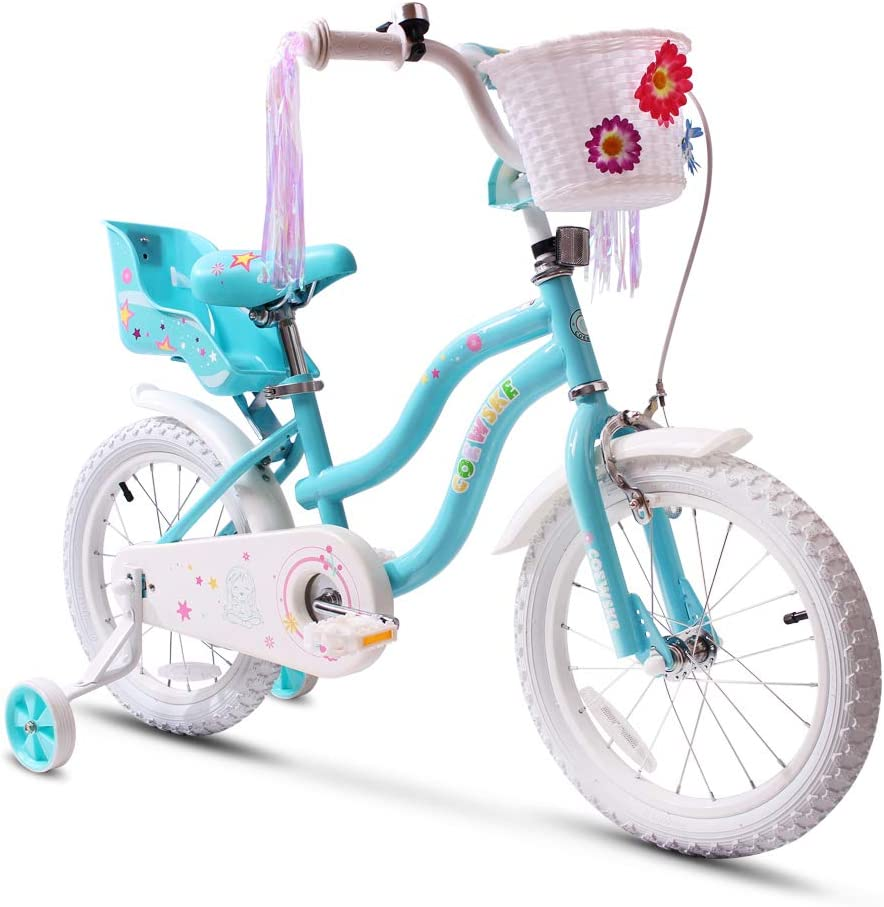 COEWSKE Kid's Bike Steel Frame Children Bicycle Little Princess Style 12-14-16-18 Inch with Training Wheel