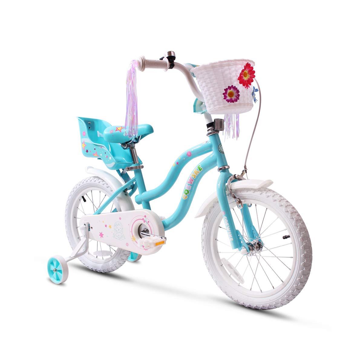 COEWSKE Kid's Bike Steel Frame Children Bicycle Little Princess Style 14-16 Inch with Training Wheel(14'' Blue)