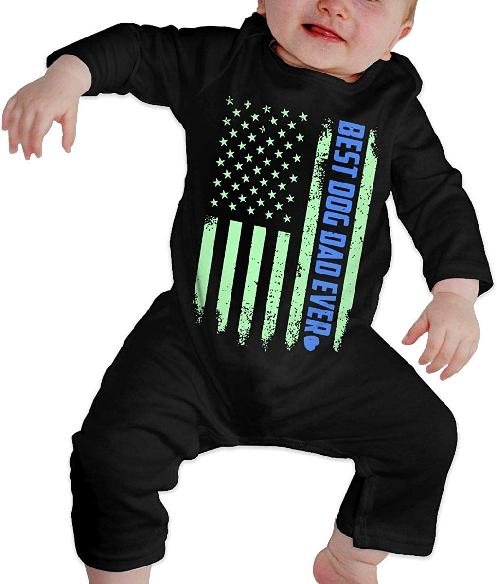 YELTY6F Funny Best Dog Dad Ever Printed Boys Girls One-Piece Suit Long Sleeve Rompers Black