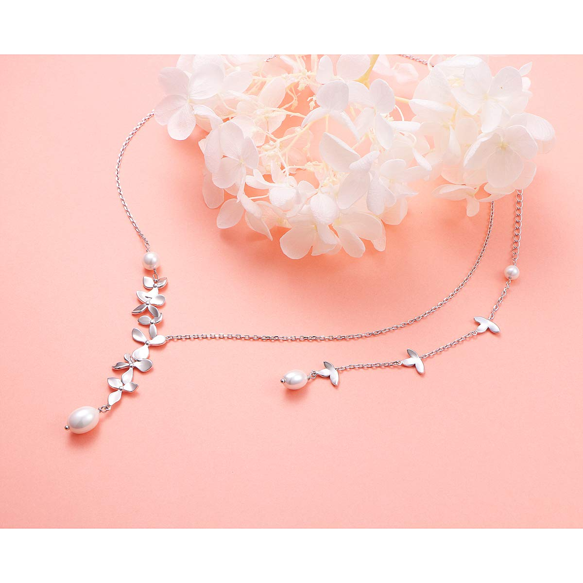 JZMSJF S925 Sterling Silver Back Drop Necklace Women Handmade Backdrop Body Chain Orchid Flower Necklace Ring Bracelet Wedding Jewelry Set Backless Dress Accessiories
