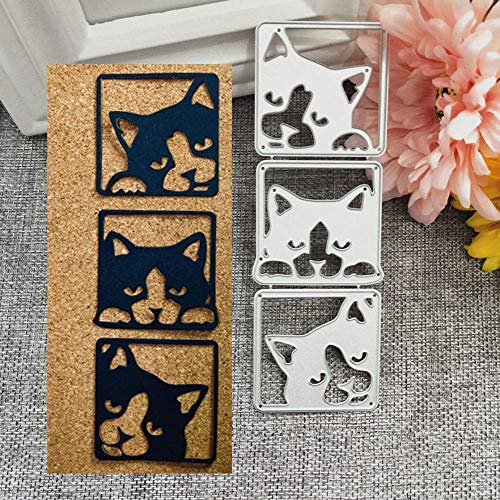 andy cool Premium Quality Metal Cutting Dies,Cute Cat Metal Cutting Dies DIY Scrapbooking Embossing Cards Album Art Stencil - Silver
