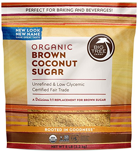 Big Tree Farms Organic Brown Coconut Sugar, Non-GMO, Gluten Free, Vegan, Fair Trade, Natural Sweetener, 5 Pound (Packaging May Vary) Big Tree Farms Coconut