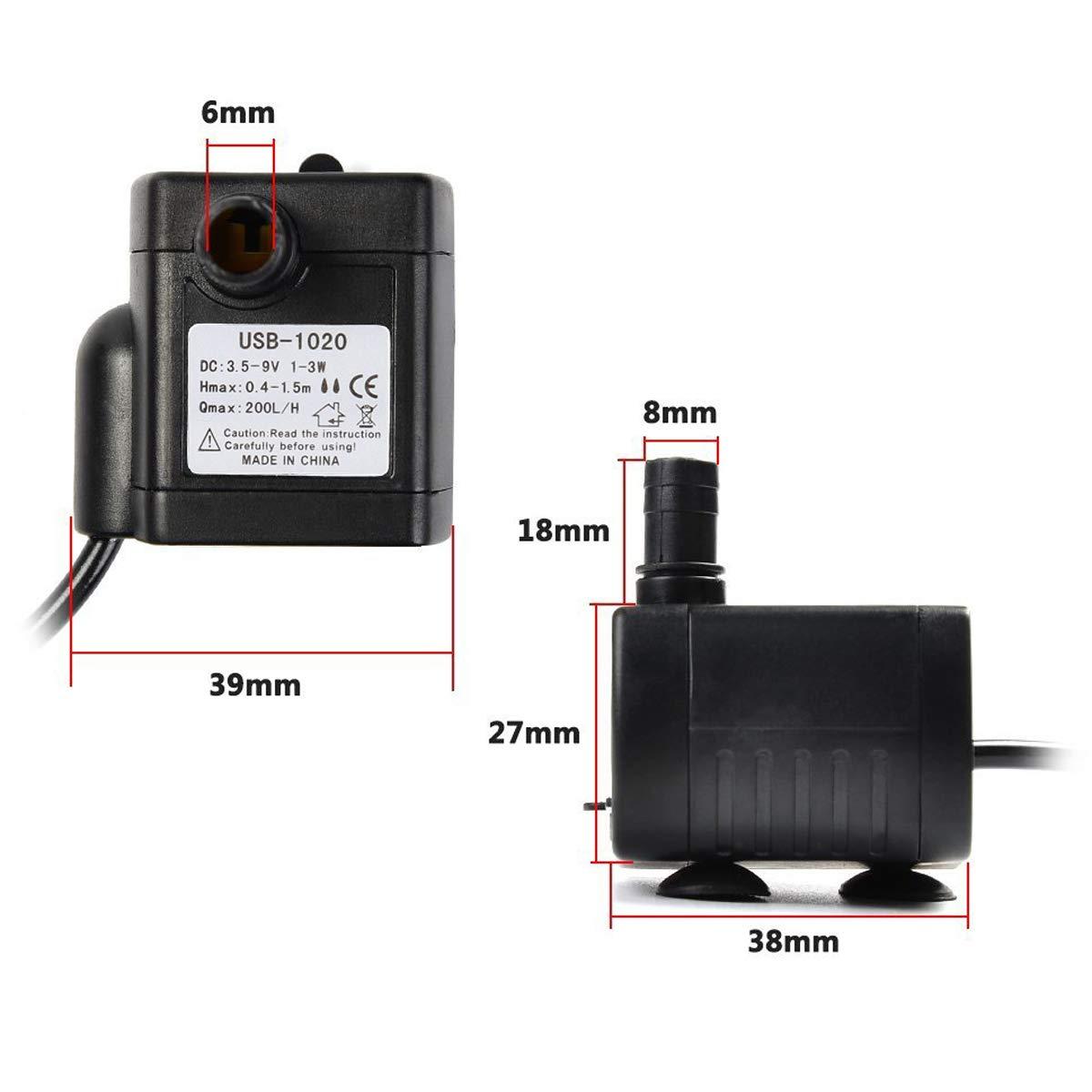 pompe /à eau submersible DC3.5-9V MRCARTOOL 200L//H 3W Mini pompe /à eau ultra-silencieuse de fontaine pour laquarium fontaine /étang r/éservoir deau Statuaire pompe /à eau hydroponique
