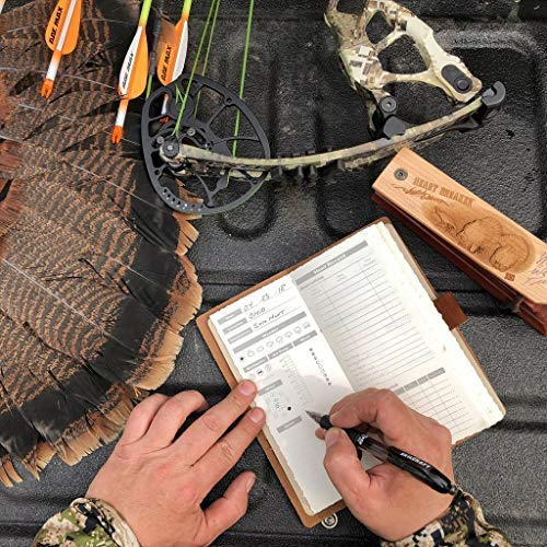 Leather Hunting Log Book Designed for Hunters, Record Hunts for All Species, Hunting Journal 96 Pages Buckskin