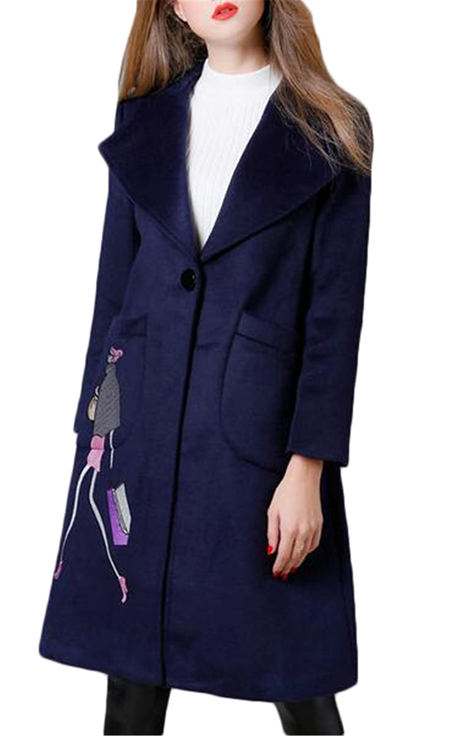 Women's Fashion Embroidery Outerwear Long Wool Jacket Coat