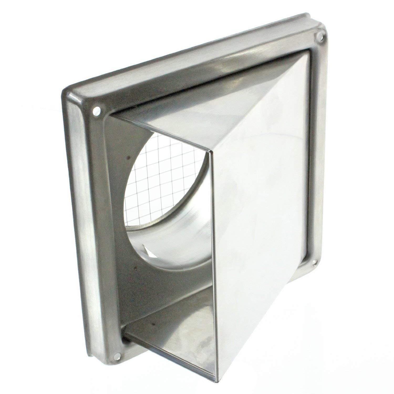 Spares2go acero inoxidable capucha externa Extractor pared de ventilaci/ón de salida con espuma tipo Retorno trampilla 150 mm, 6