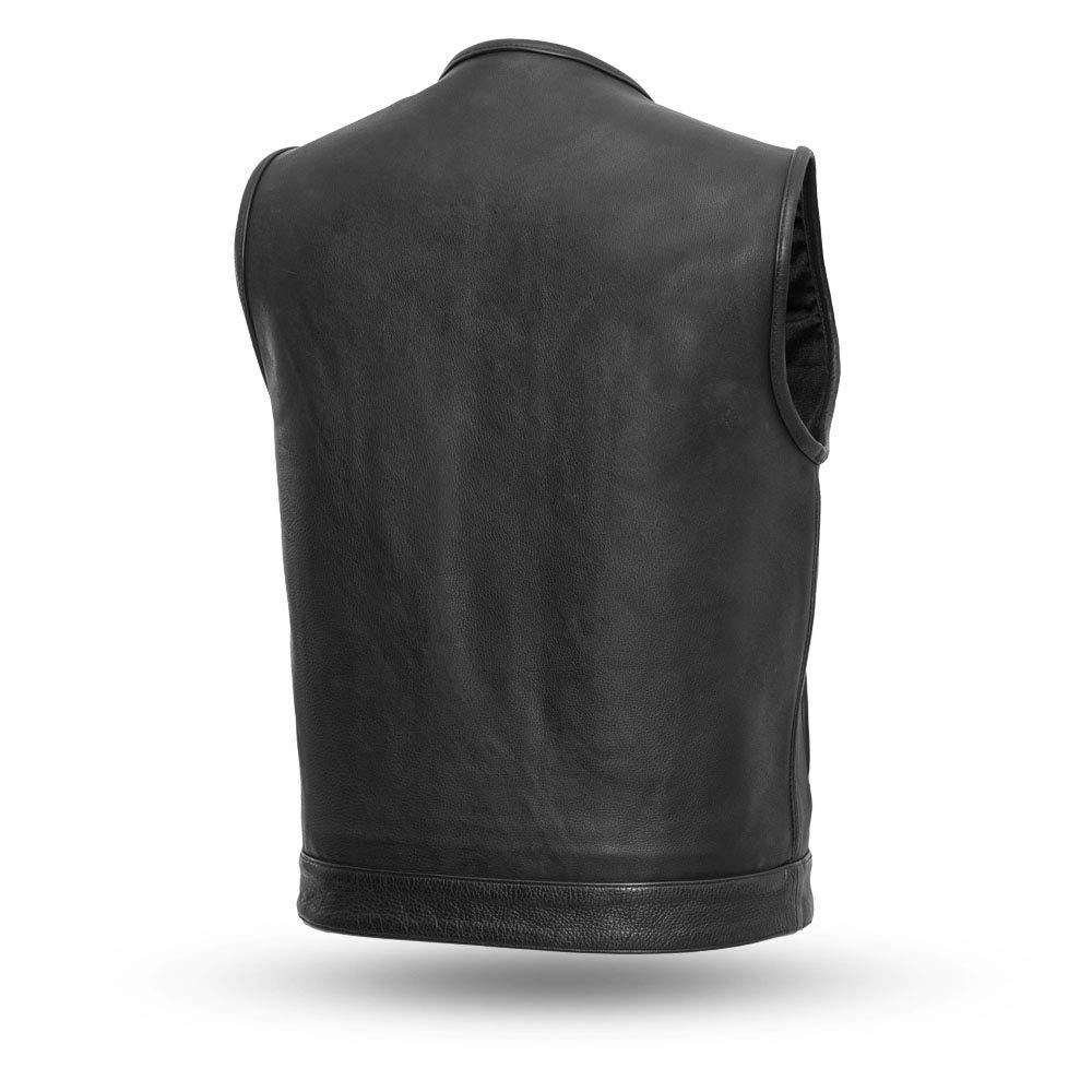 Black, 2X-Large First Mfg Co Highside Mens Club Style Vest Front snap Two Slash Pockets