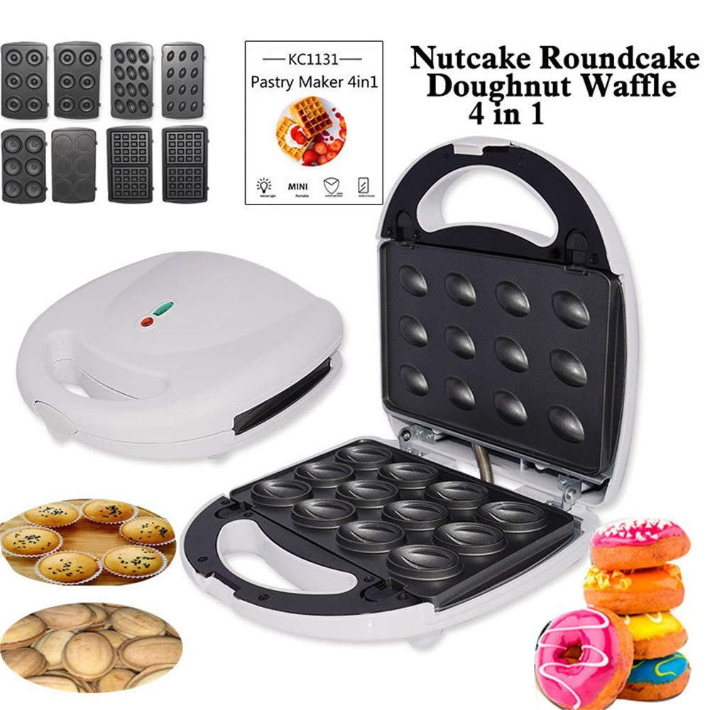 Crepe Maker 4 In 1 Cake Machine Non-Stick Plates For Donuts Waffle Nut-shape Cake Roundcake For Kitchen Electric Non-Stick (Color : White, Size : 24x24x10cm) by DEPRQ