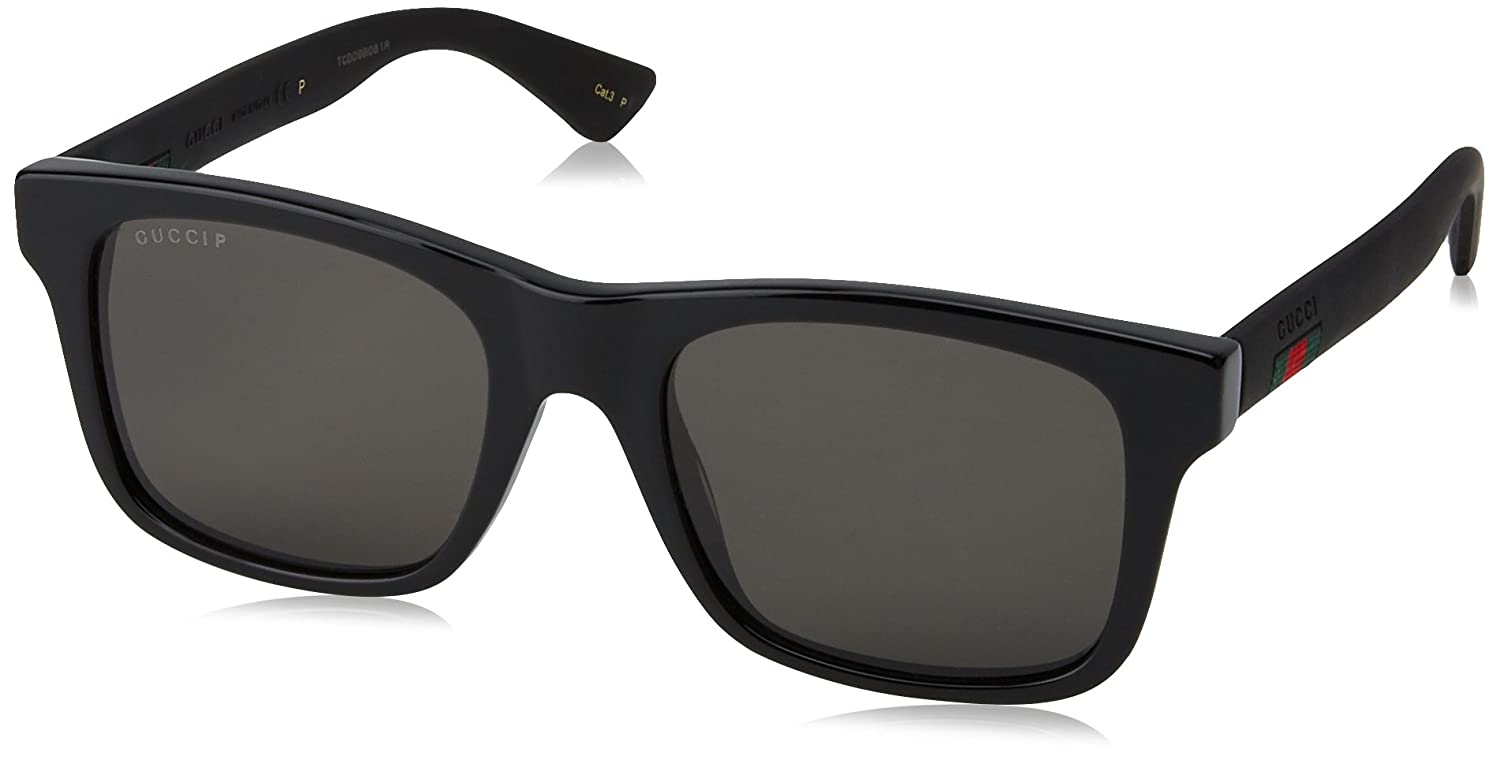 f37880d9898e Amazon.com: Gucci GG0008S Sunglasses 002 Black / Grey Polarized Lens 53mm:  Gucci: Clothing