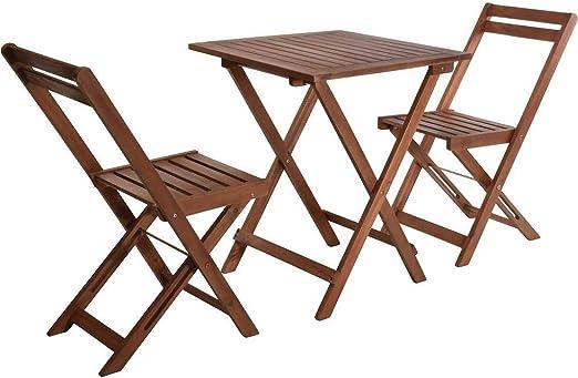 VDC Mesa Madera 60x60 + 2 sillas Plegables Acacia: Amazon.es: Jardín