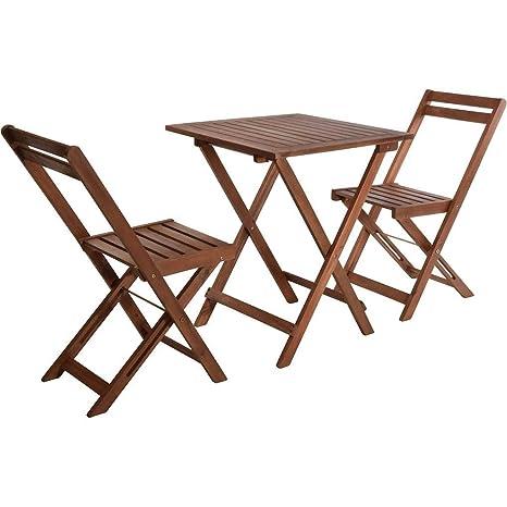 VDC Mesa Madera 60x60 + 2 sillas Plegables Acacia: Amazon.es ...