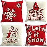 Gspirit Buon Natale 4 Pack Cuscini per divani Decorativo Cotone Biancheria Cuscino copricuscini Divano Caso Federa per Cuscino 45x45 cm