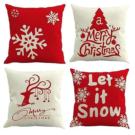 Gspirit 4 Pack Feliz Navidad Algodón Lino Throw Pillow Case Funda de Almohada para Cojín 45x45 cm
