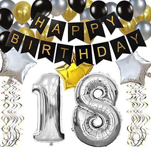 KUNGYO Classy 18TH Birthday Party Decorations Kit-Black Happy Brithday Banner,Silver 18 Mylar Foil Balloon, Star, Latex Balloon,Hanging Swirls, Perfect 18 Years Old Party Supplies