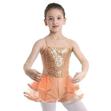 ranrann Maillot de Ballet Lentejuelas para Niña Vestido Tutú ...