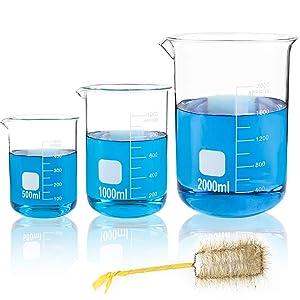 SUPERLELE Thick Glass Beakers 500ml, 1000ml, 2000ml, Borosilicate Glass Graduated Measuring Beaker Set, Large Capacity Low Form Griffin Thick Wall Type Beakers, with 1 Beaker Brush
