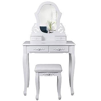 songmics specchiera tavolo cosmetici mobile da trucco da toeletta ... - Mobile Specchio Make Up