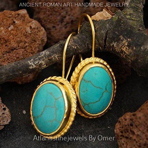 TURKISH TURQUOISE HOOK EARRINGS 24 K GOLD OVER 925 K STERLING SILVER HANDMADE FINE JEWELRY BY OMER