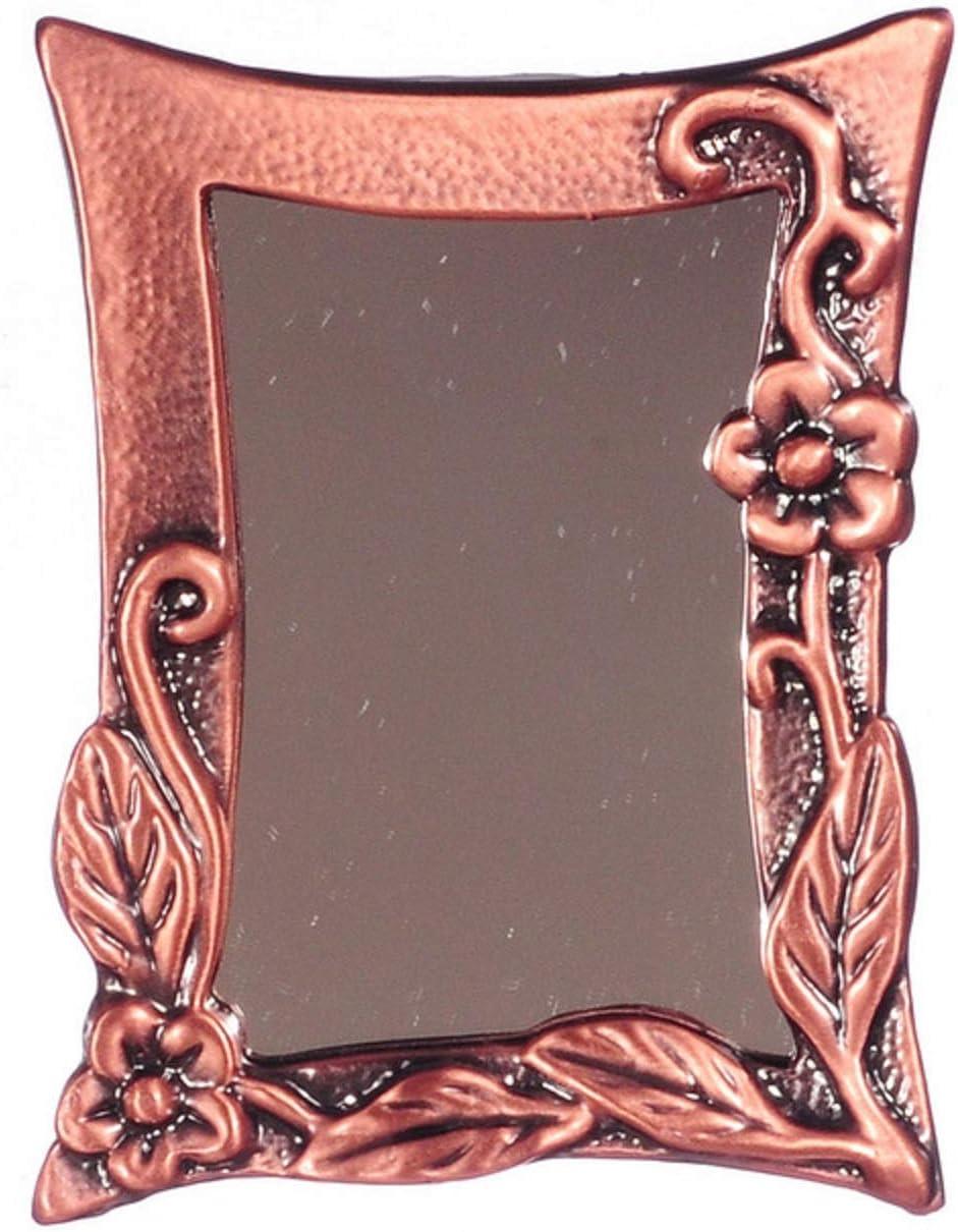 Maison de Poupées Miniature Antique Cuivre Escalade Fleur encadrée miroir