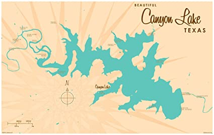 Amazon.com: Canyon Lake Texas Map Vintage-Style Art Print by ... on