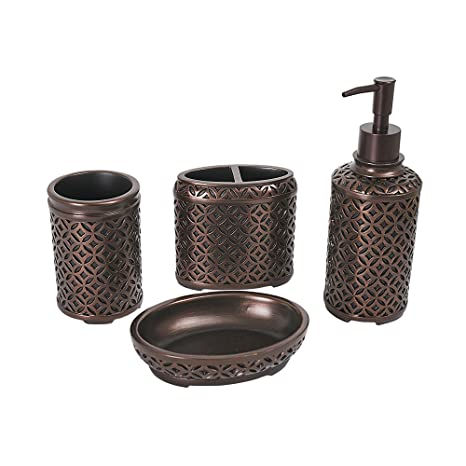 Ordinaire Amazon.com: YangShiMoeed 4 Piece Oil Rubbed Bronze Bathroom Accessories Set    Includes Toothbrush Holder, Tumbler, Soap Dish, Dispenser Pump   Simple  Metal ...