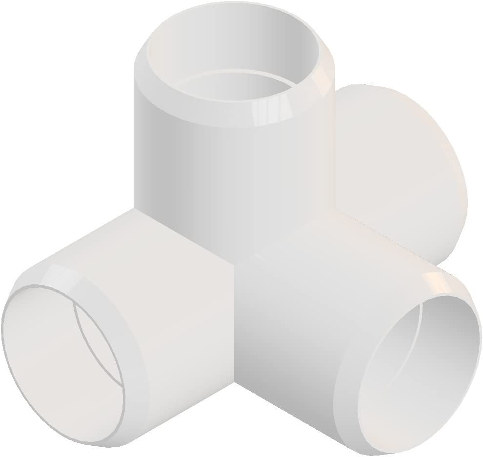 4way 3/4 inch PVC Elbow Corner Side Outlet Tee Fitting, Furniture Grade, White [Pack of 8]