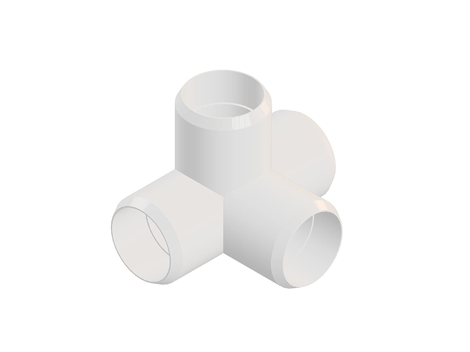 4way 1 inch PVC Elbow Corner Side Outlet Tee Fitting, Furniture Grade, White [Pack of 8] 6132BpC41SML