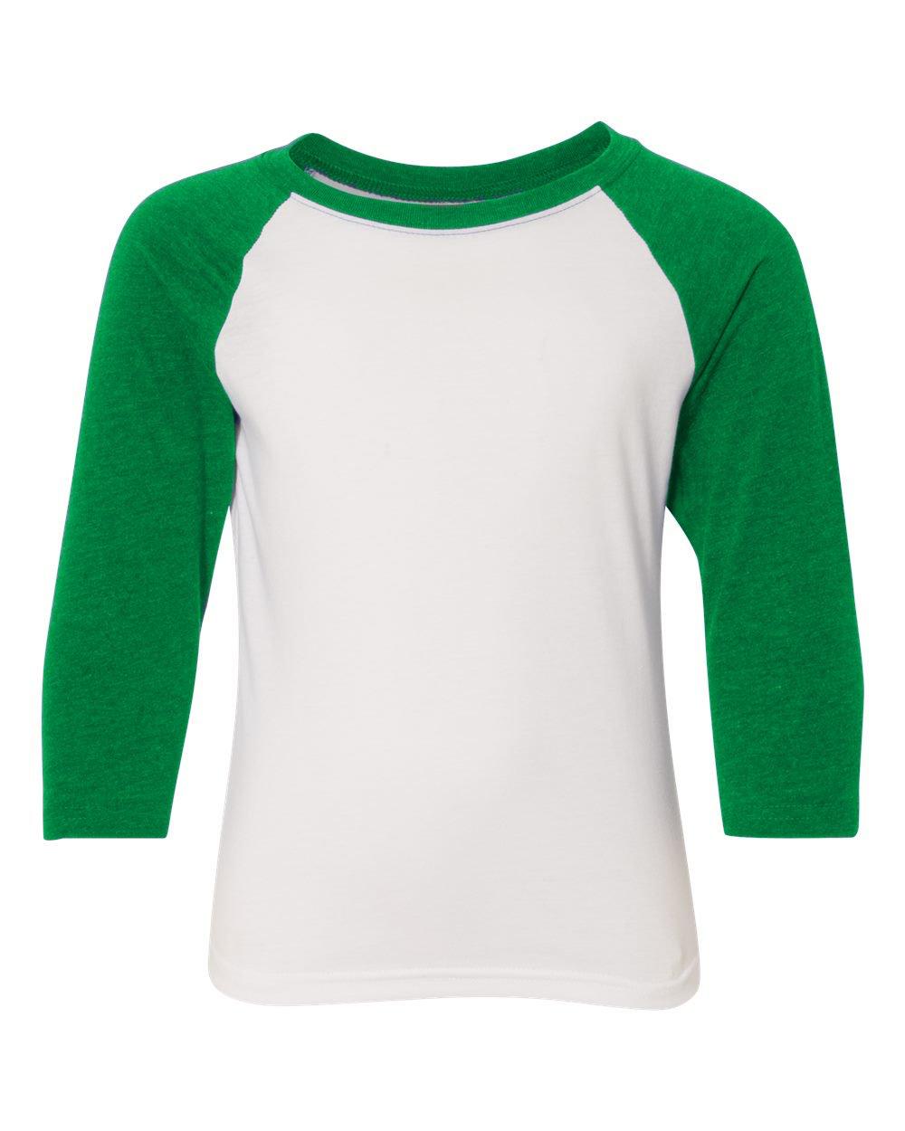KAMAL OHAVA Youth Premium 3/4 Sleeve Baseball T-Shirt, M, Kelly/White