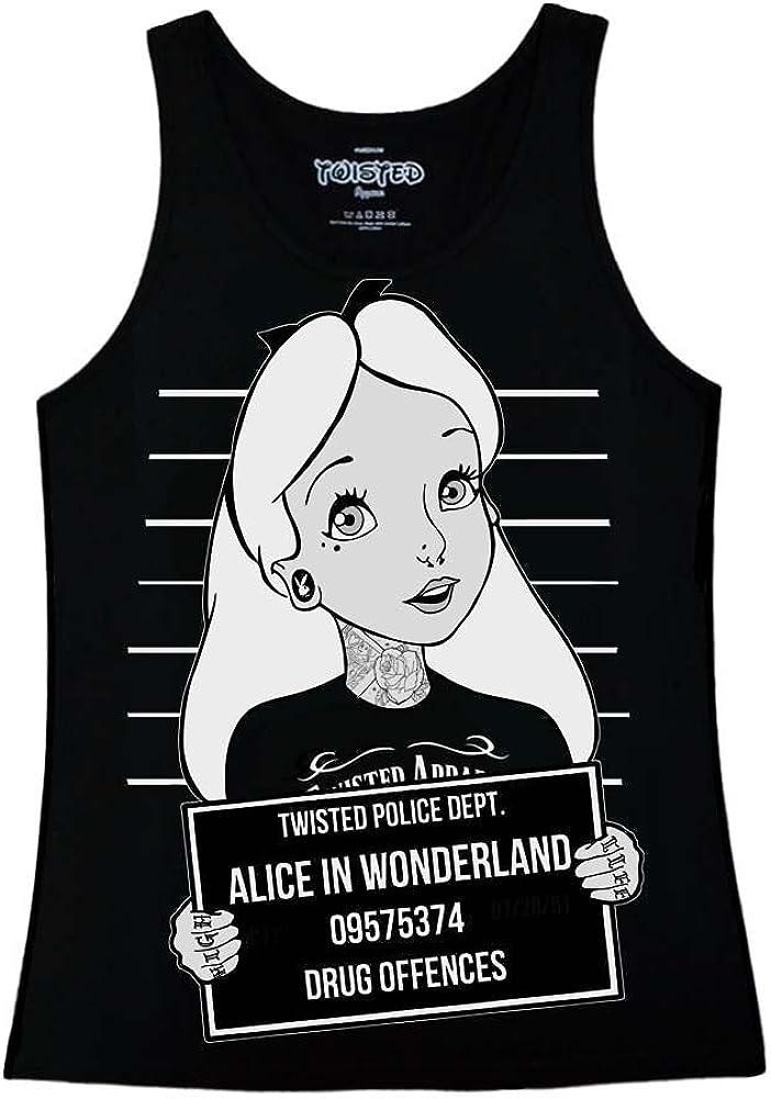 Alice in Wonderland Punk Tattoo Novelty Forest White Women Vest Tank Top