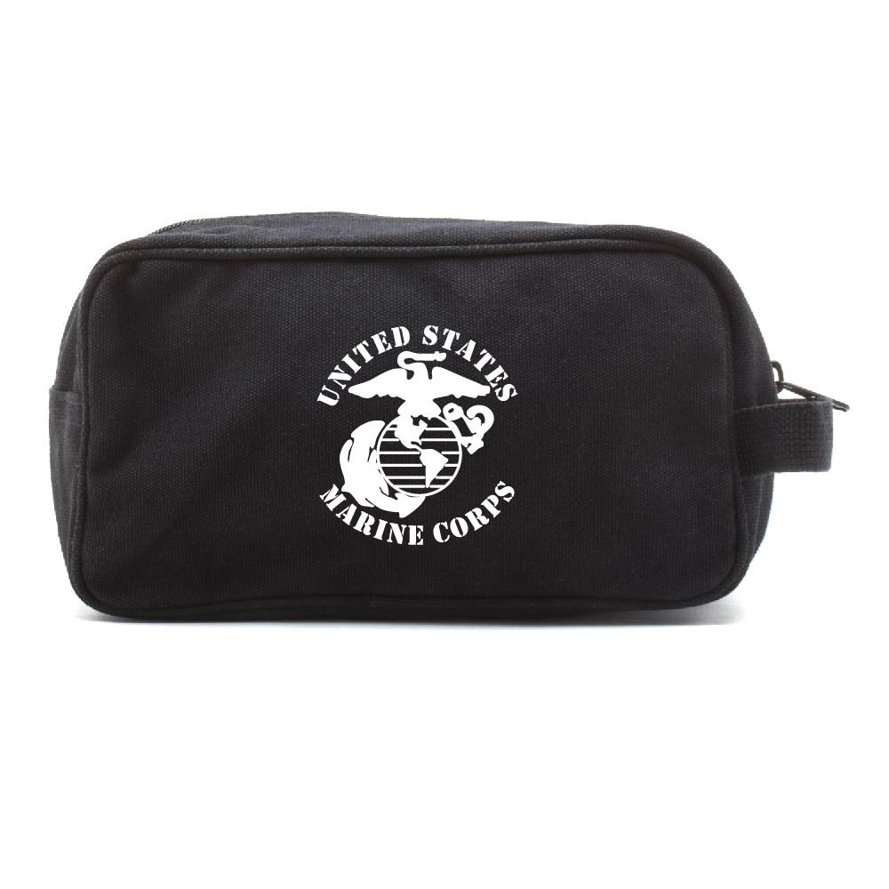 United States Marine Corps Canvas Shower Kit Travel Toiletry Bag Case in Black & White
