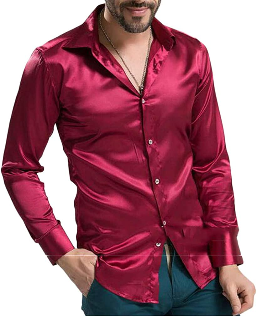 GH Men Stylish Long Sleeve Lapel Neck Performer Silk Button Down Shirts