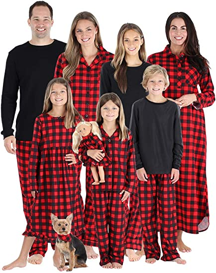puseky Christmas Family Matching Outfits Plaid Elk Pajamas for Pet Baby Kid Mom Dad