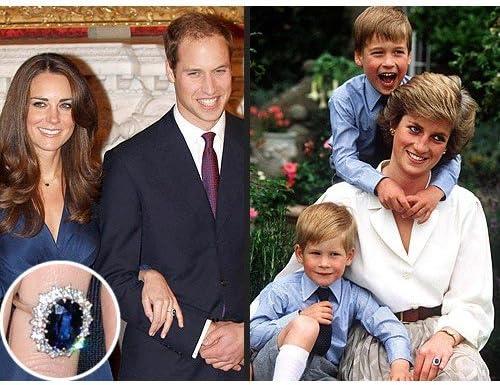 Bague de la princesse Kate en argent 925 avec saphir synth/étique