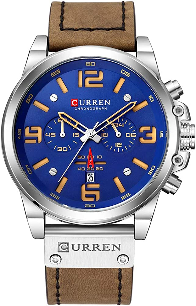 Curren - Reloj de pulsera para hombre con mecanismo de cuarzo, calendario, horas, minutos, indicador de hora y correa de cuero