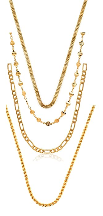 charms combo of four gold plated chains for boys men golden ch