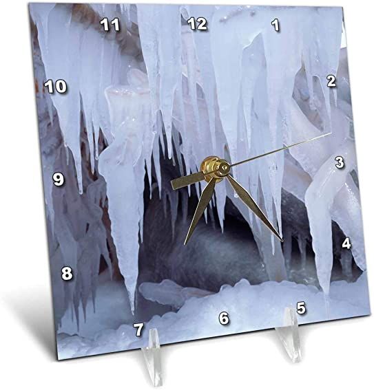 3dRose dc_206081_1 USA, California, Sierra Nevada Mountains. Icicles in The Sierra. Desk Clock, 6 by 6