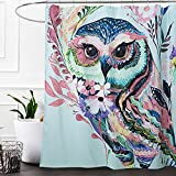 Owl Shower Curtain Grace Duet Mildew resistant fabric waterproof polyester eco-friendly anti bacterial plastic rust proof grommets 72 x 72 stall shower curtain white bathroom liners (72x72, Owl)