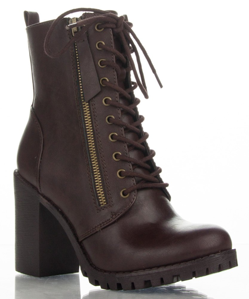 Soda Malia Vegan Round Toe Stacked Lug Heel Lace Up Ankle Booties Brown (8.5)