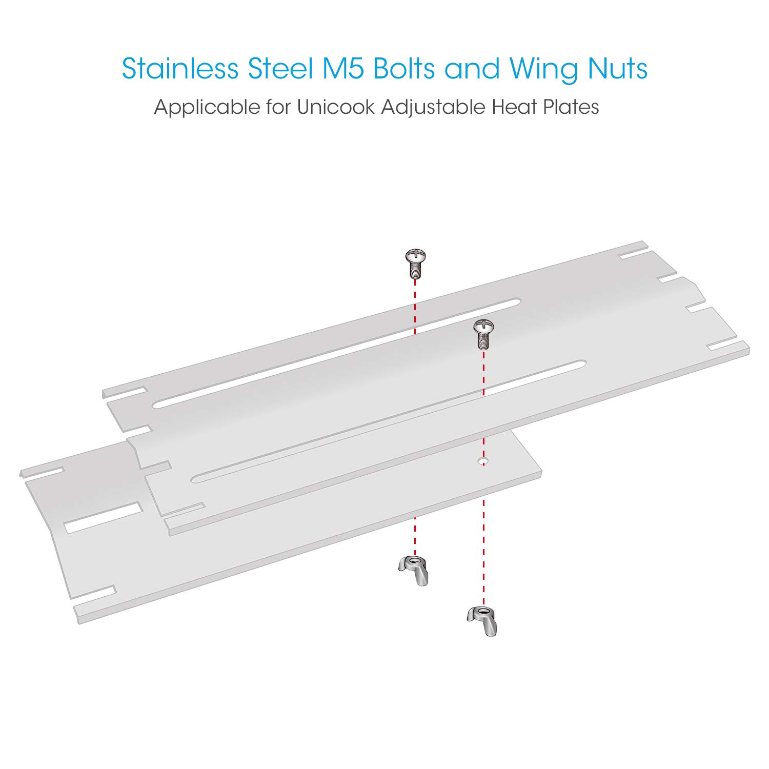 Unicook Stainless Steel M5 Bolt and Wing Nuts Wing Butterfly Screw Set of 8