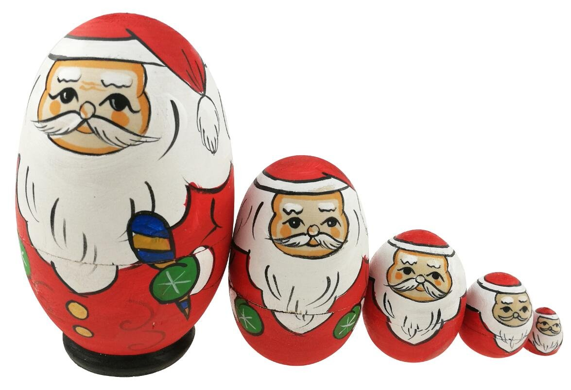 Cute Egg Shape Santa Claus With Green Gloves Handmade Wooden Russian Nesting Dolls Matryoshka Dolls Set 5 Pieces For Kids Toy Birthday Gift Christmas gift Home Christmas Holiday Decoration