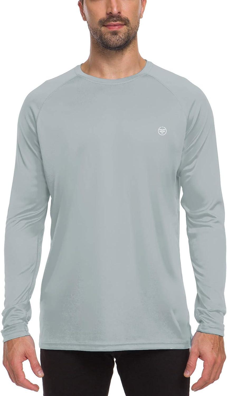ChinFun Men's UV Sun Protection UPF 50+ Shirts Outdoor Long Sleeve Crew Neck Running Workout Performance T-Shirt Top